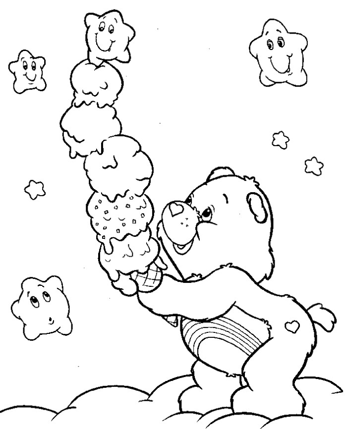 Bear Ice Cream Coloring Pages for Free