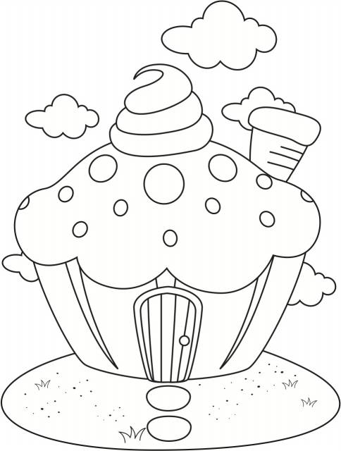 Cupcake Coloring Sheets for Kids Birthday