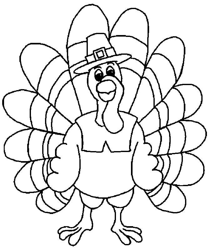 Cute Turkey Coloring Pages for Kids
