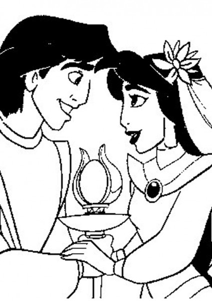Download Free Aladdin and Jasmine Coloring Pages