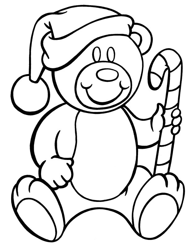 Teddy Bear with Candy Canes Coloring Page