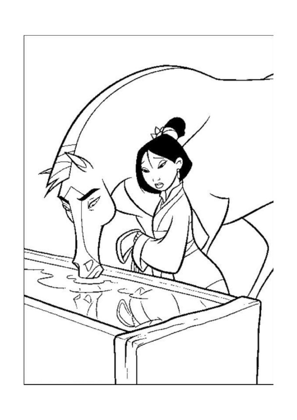 Print Free Mulan Coloring Sheets for Kids
