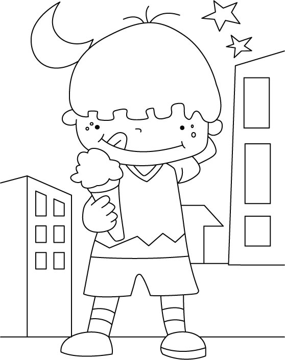 Boy with Ice Cream Coloring Sheet