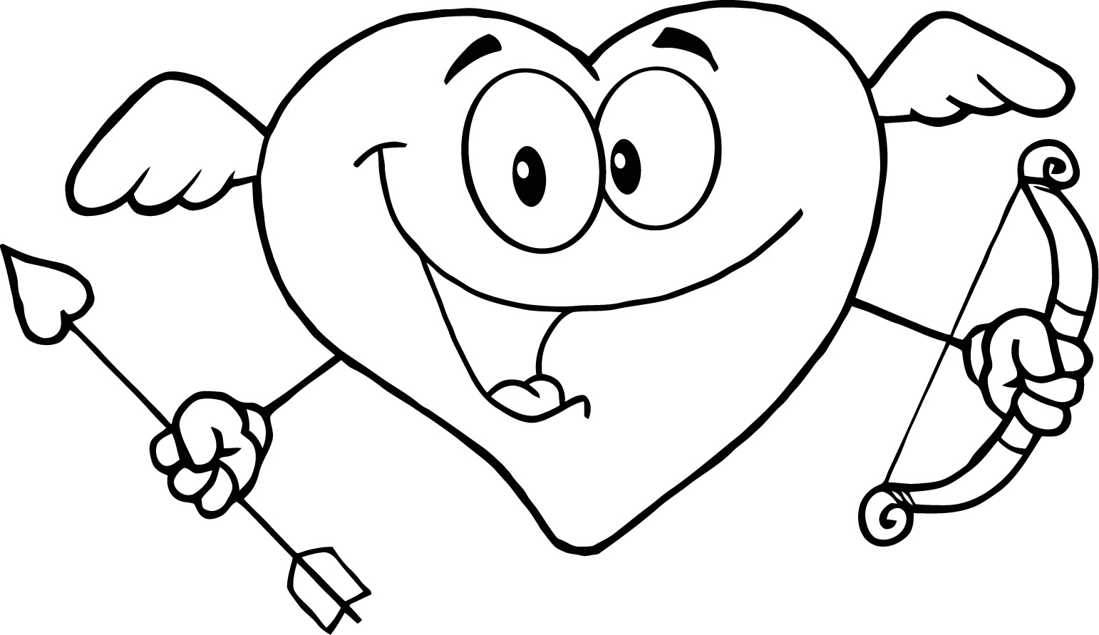 Heart Coloring Pages with Wings Printable