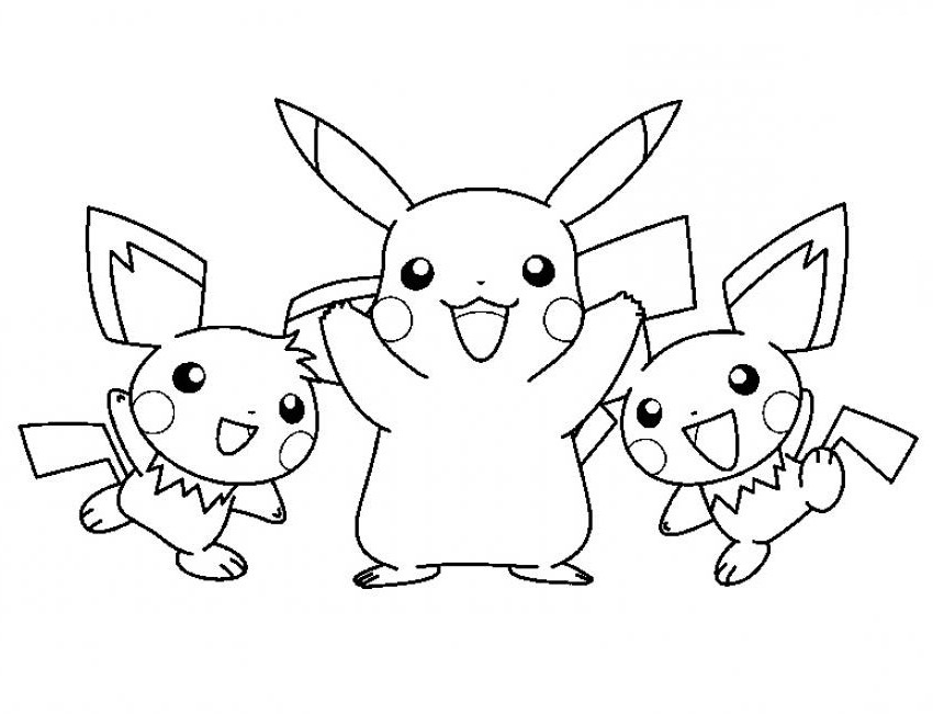 Free Pikachu and Pichu Coloring Page for Kids