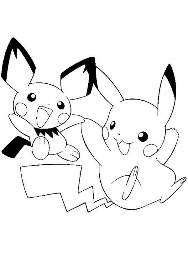 Download Pikachu and Pichu Coloring Sheets for Kids