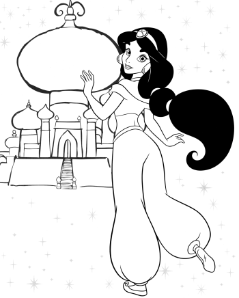 Prntable Princess Jasmine Coloring Sheets for Free