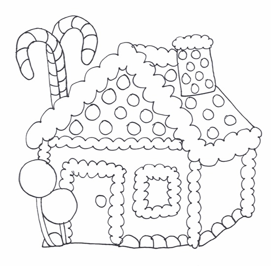 Free Printable Candy Canes House Coloring Pages