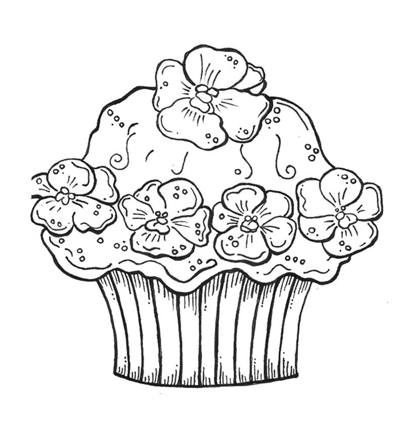 Cute Printable Cupcake Coloring Pages for Kids