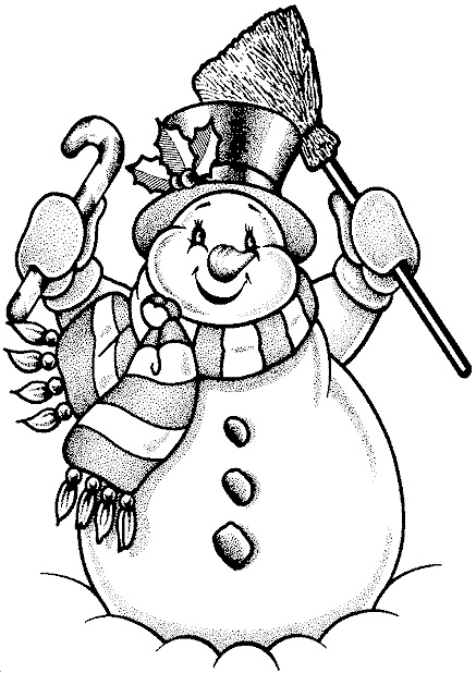 Print Snowman with Candy Canes Coloring Sheets
