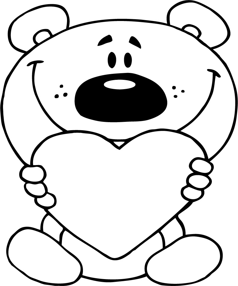 Teddy Bear and Heart Coloring Pages for Girls