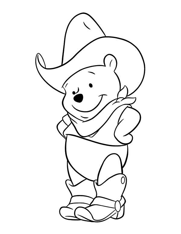 Winnie The Pooh Cowboy Coloring Page for Kids