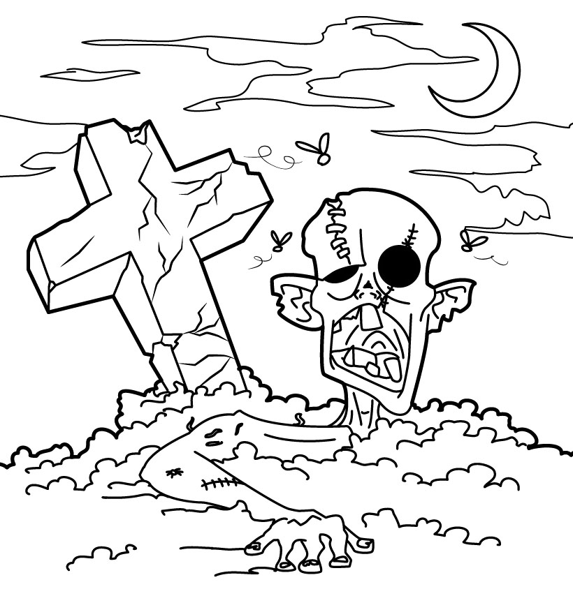 Free Download Zombie Coloring Sheets for Kids