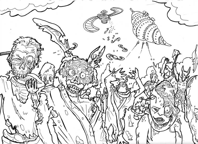 Free Zombie Coloring Sheets for Kids