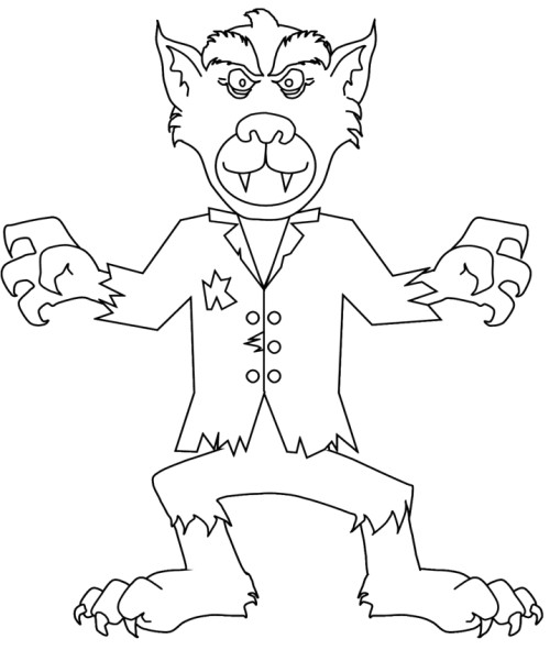 Warewolf Zombie Coloring Sheets