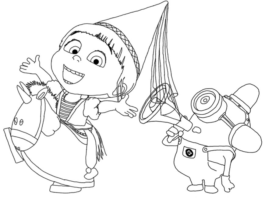Despicable Me Coloring Pages Agnes and Stuart