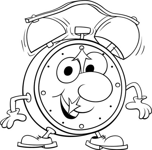 Printable Alarm Clock Coloring Sheets