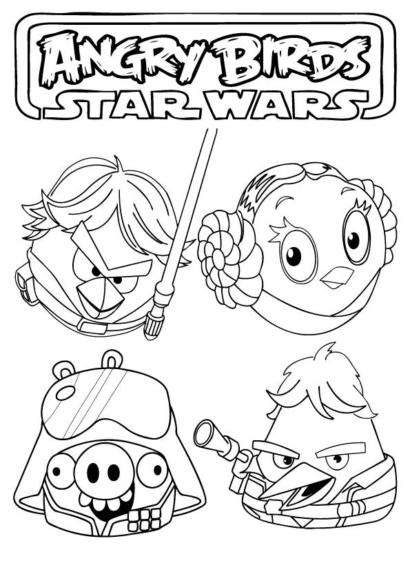 Angry Birds Coloring Pages Star Wars