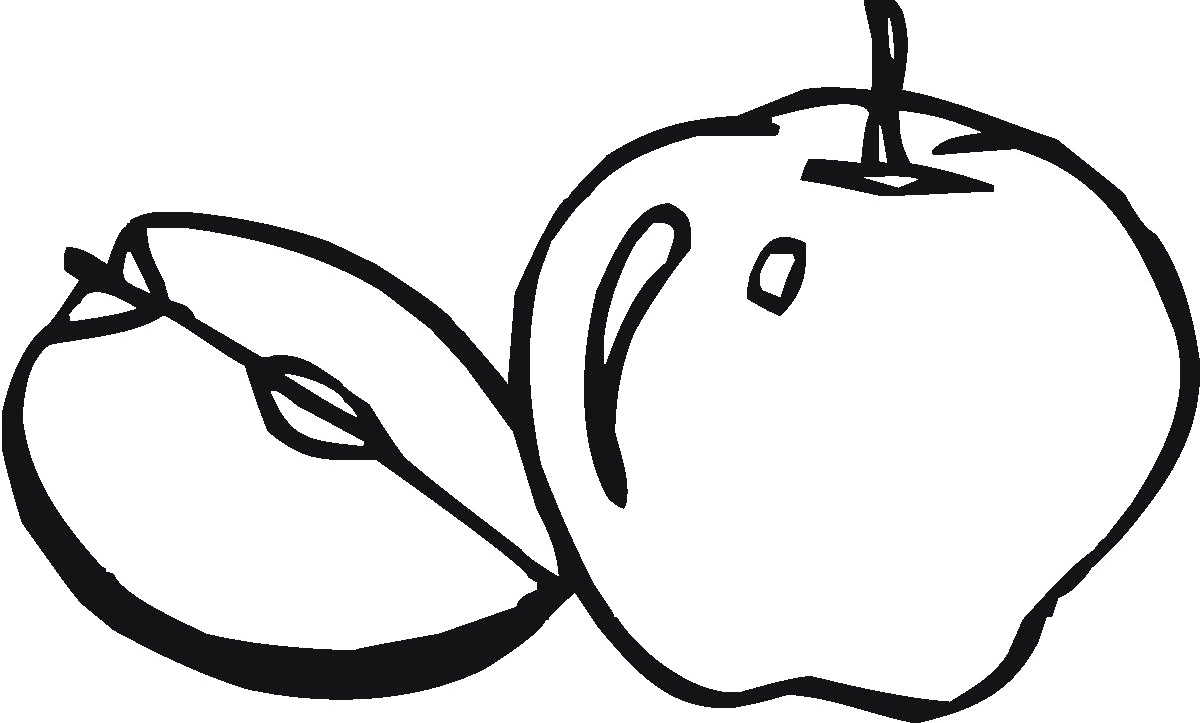 Cut Apple Coloring Pages