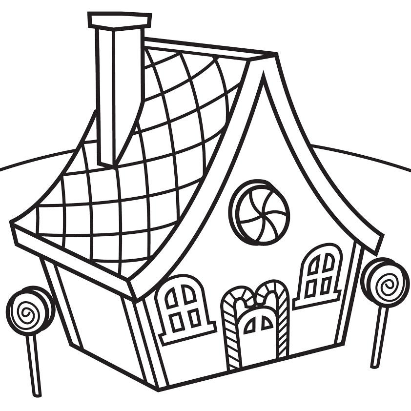 Candy House Coloring Pages Free