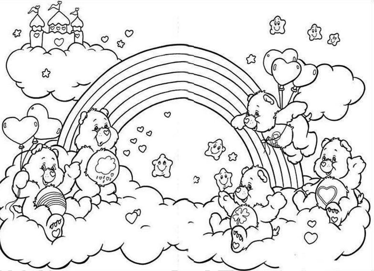Rainbow coloring pages 360coloringpages for Care bears coloring pages