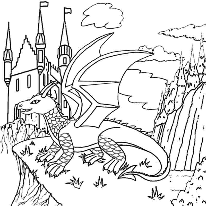 Castle and Dragon Coloring Page