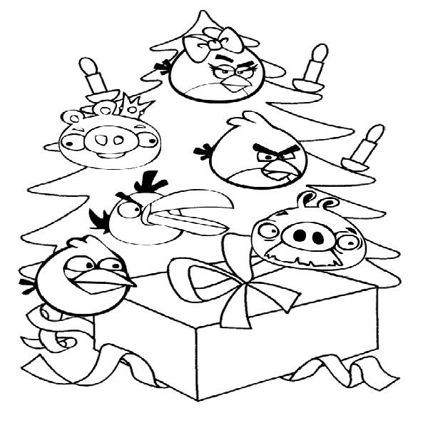 Angry Birds Coloring Pages Christmas