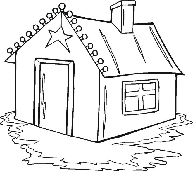 Christmas House Coloring Pages Free