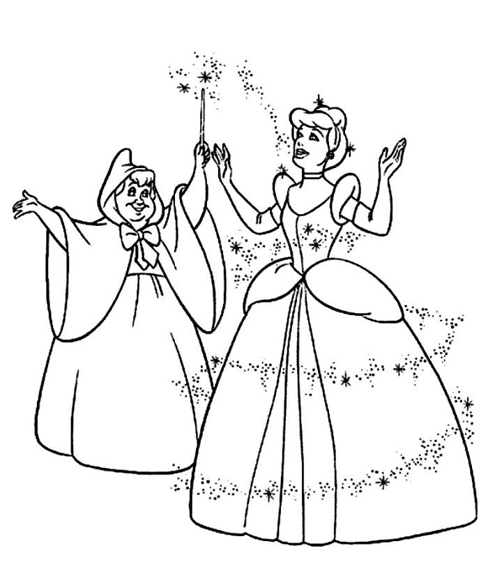 Cinderella and Fairy Godmother Coloring Pages