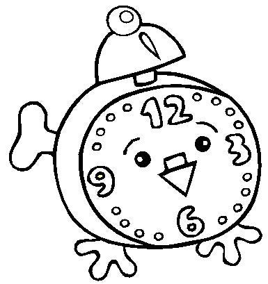 Clock Coloring Page for Kids