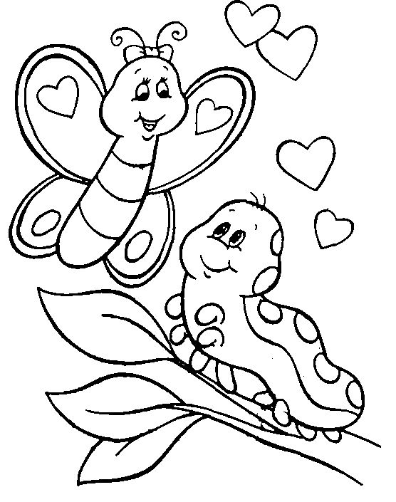 Caterpillar and Butterfly Coloring Pages
