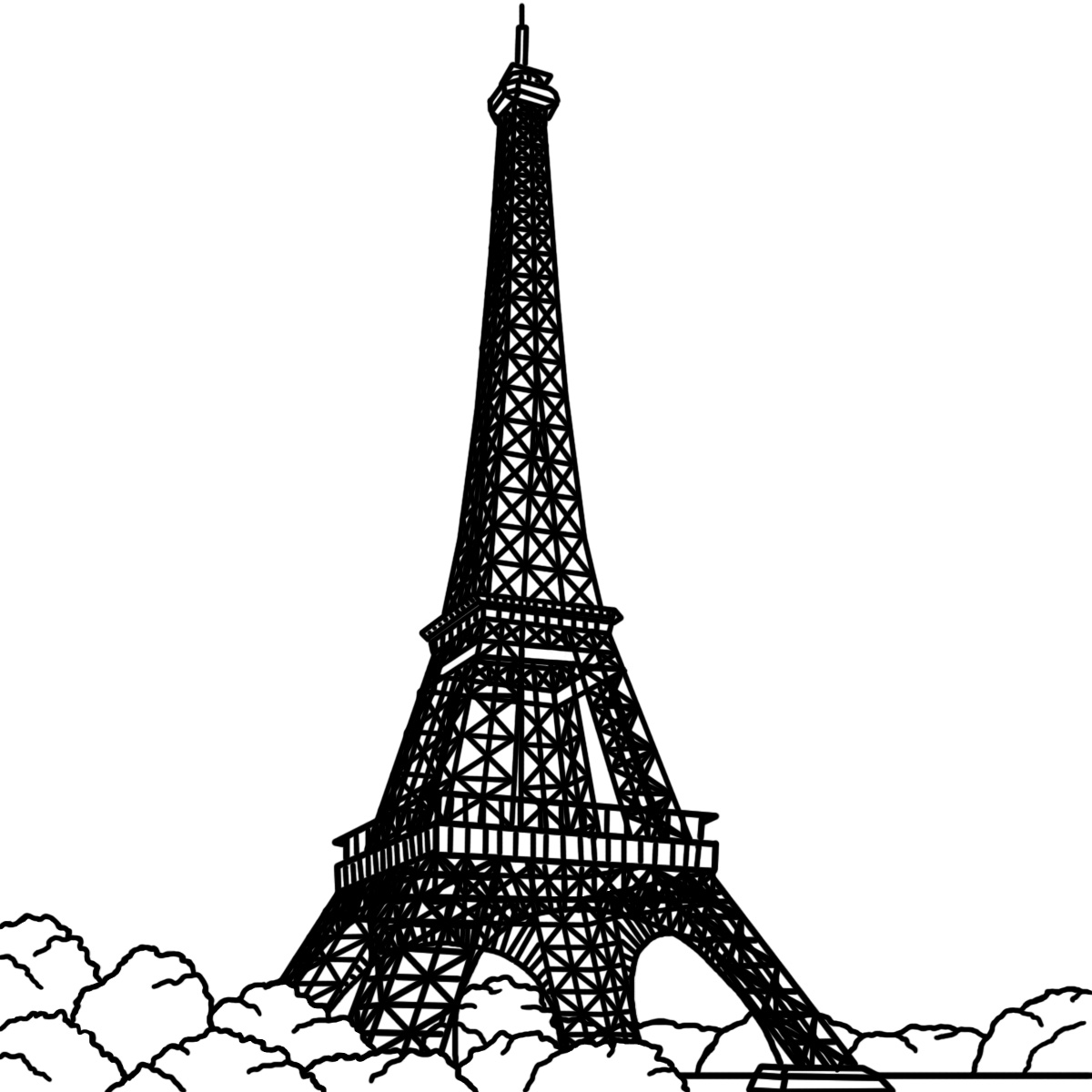 Coloring Pages of Eiffel Tower Paris