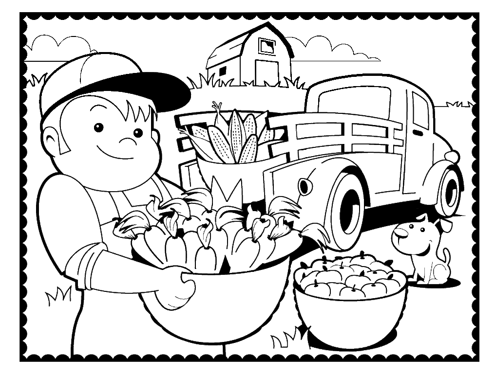 Country Farm Coloring Page