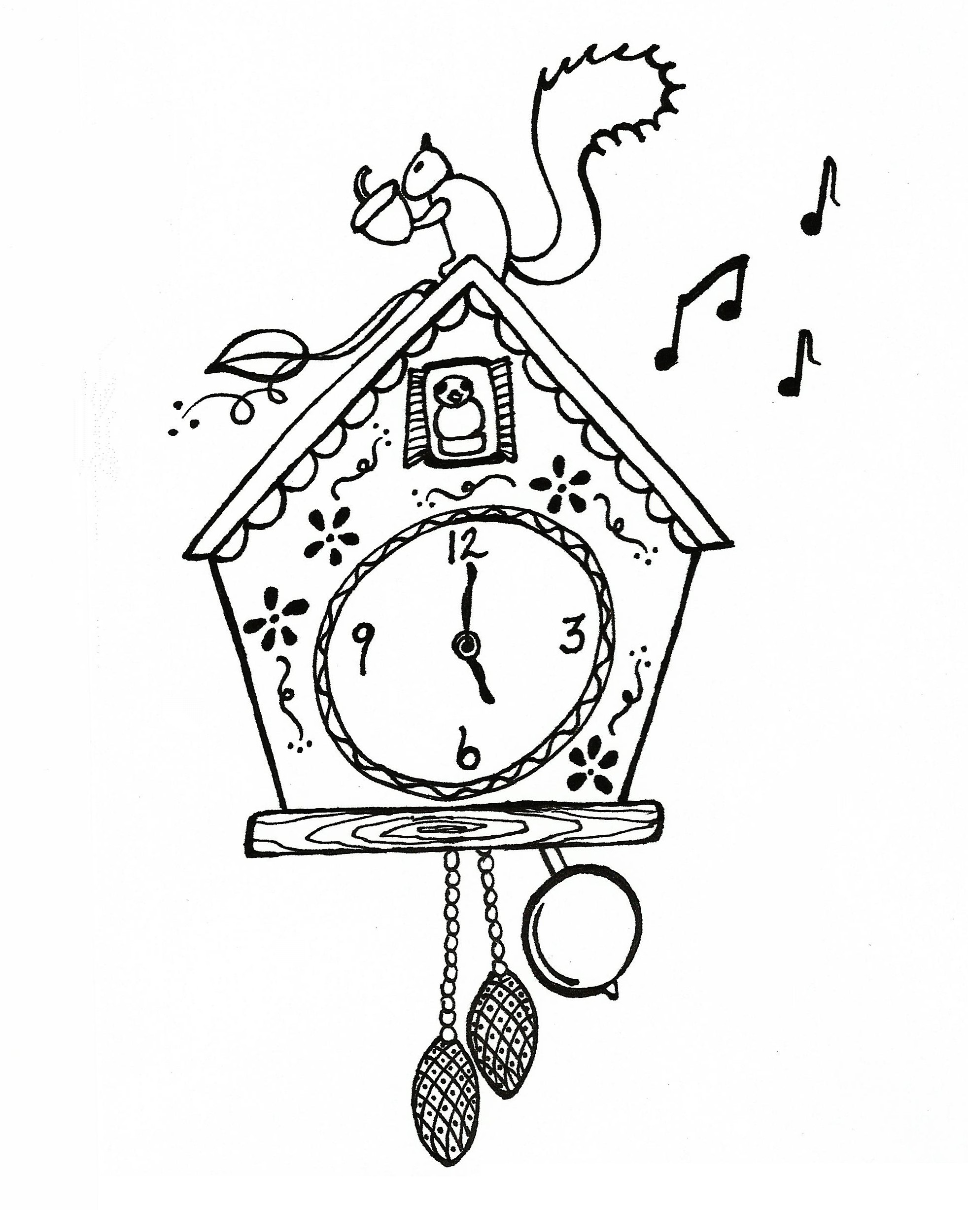 Cuckoo Clock Coloring Page To Print