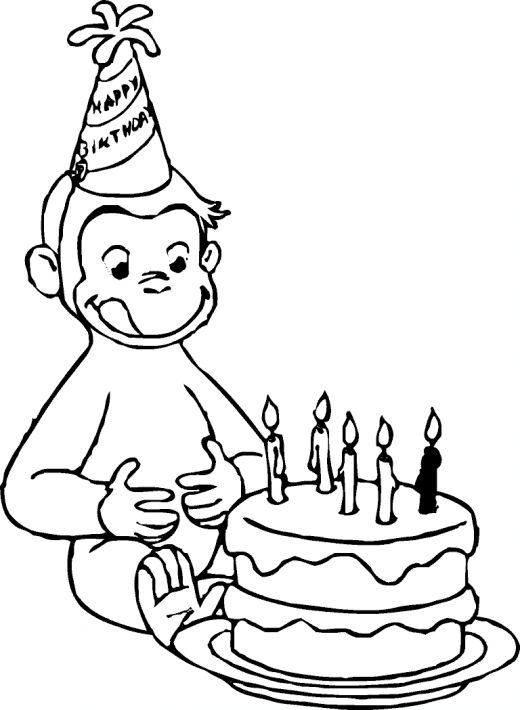 Curious George Coloring Pages Happy Birthday