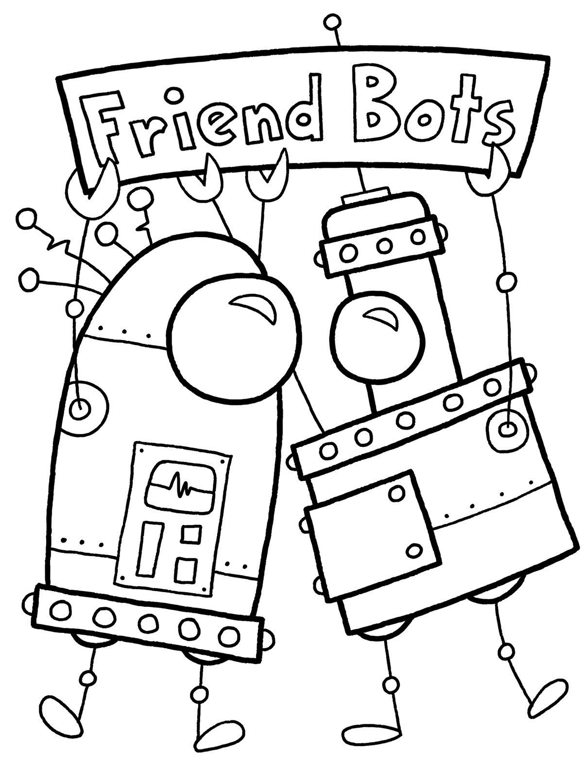 Nice Robot Coloring Page Robot Coloring Pages For Kids Cute ...