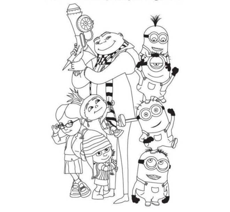 Despicable Me Family Coloring Page