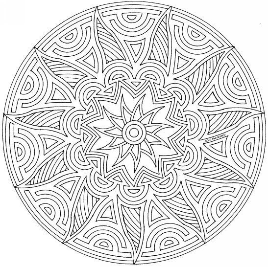 Difficult Geometric Coloring Page