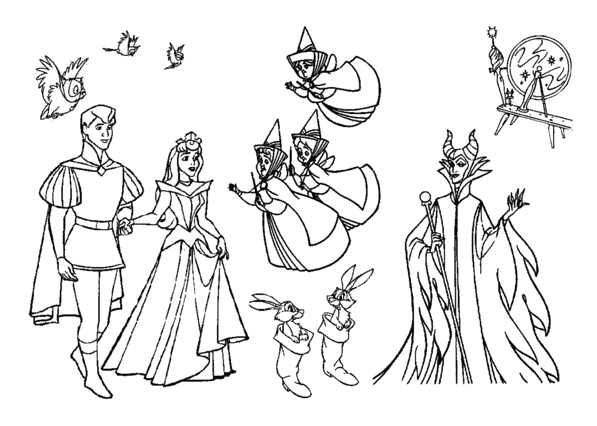 Sleeping Beauty Coloring Pages | 360ColoringPages