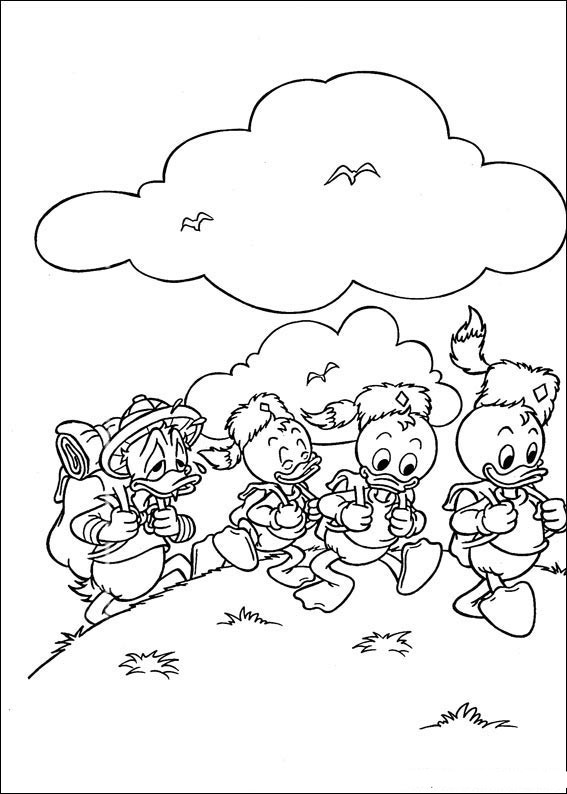 Donald Duck and Family Coloring Page