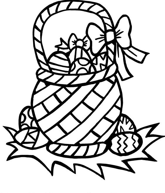 Easter Eggs Basket Coloring Page