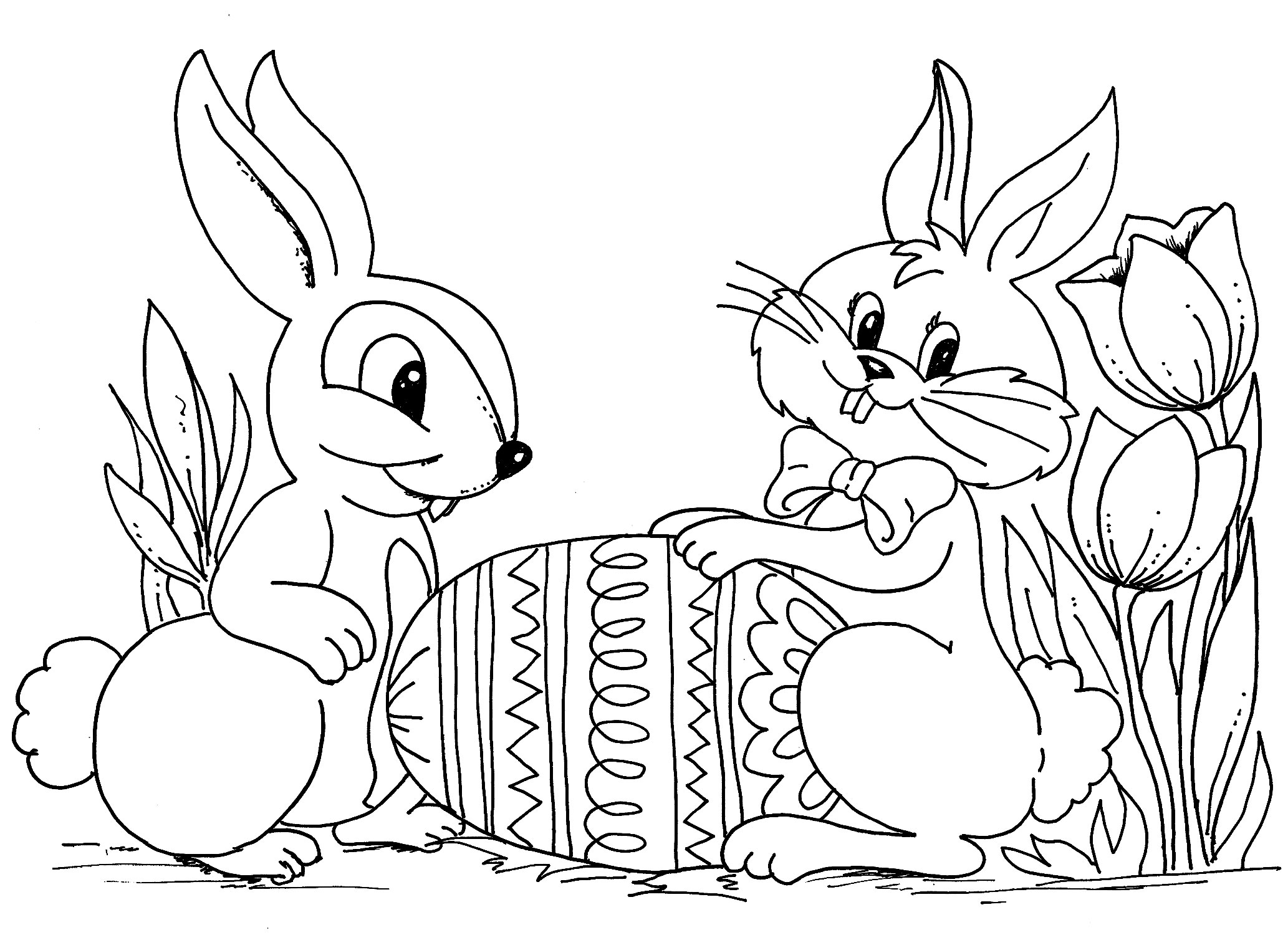Easter Bunny Coloring Pages | 360ColoringPages