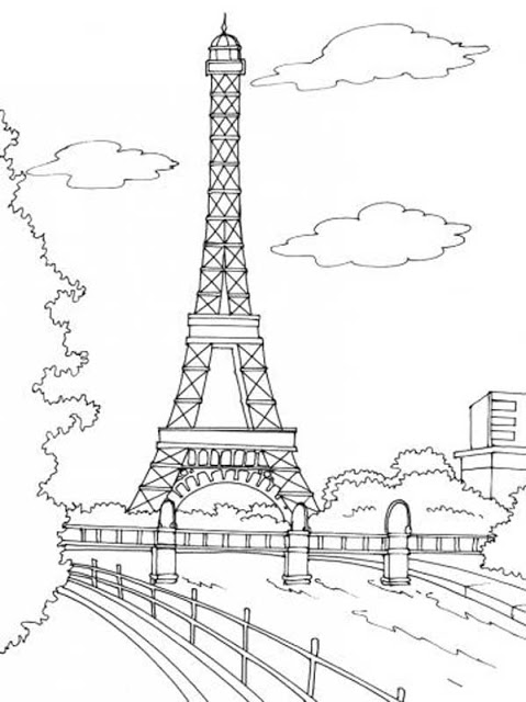 Eiffel Tower Coloring Pictures