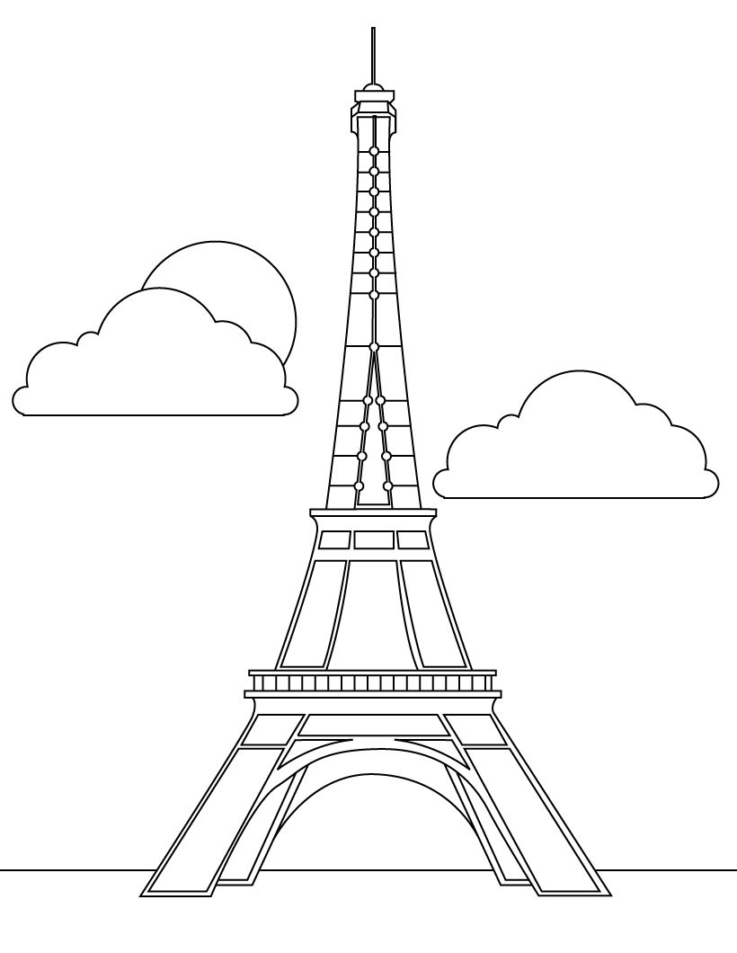 Eiffel Tower Coloring Sheet