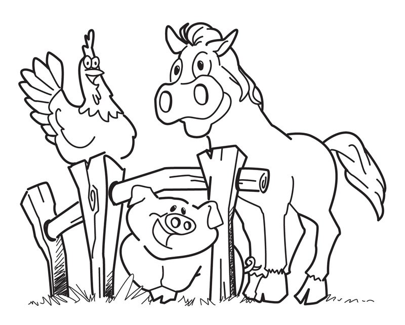 Farm Animals Coloring Pages for Preschoolers