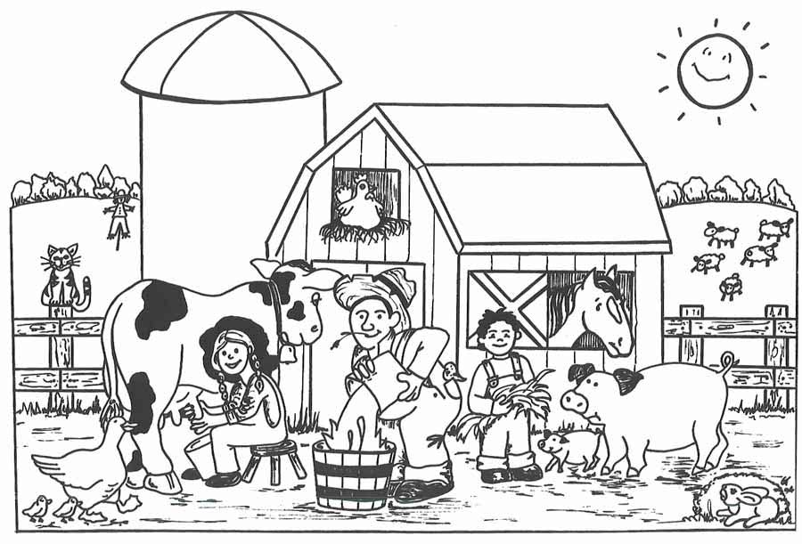 Farm Coloring Page for Kids