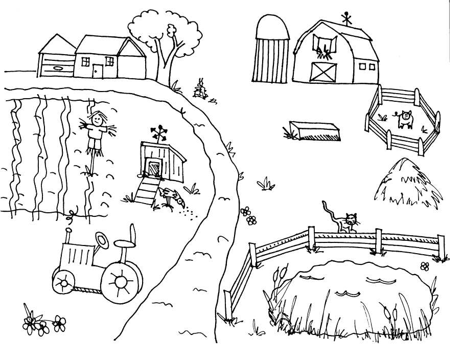 Farm Coloring Page for Kindergarten