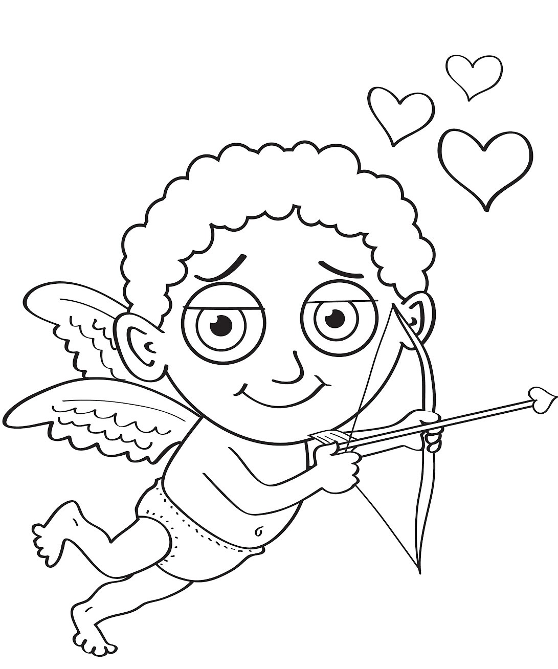 valentines day cupid coloring page printable cupid coloring pages free