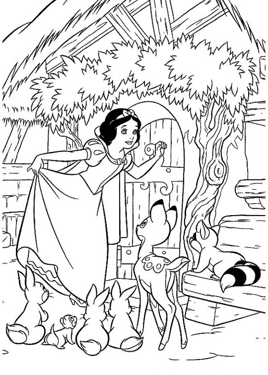 Printable Snow White and the Seven Dwarfs Coloring Pages