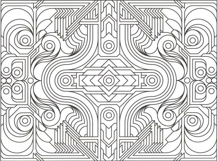 easy geometric design coloring pages - photo#19